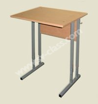 Pupil's one-seater table with adjustable height (plastic)