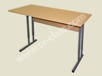 Pupil's two-seater table with adjustable height (plastic)