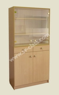 Glazed cabinet with drawers