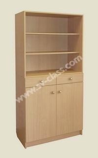 Half-open cabinet with drawers