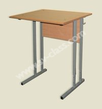 Pupil's one-seater table with adjustable height